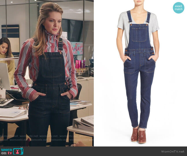 skinny overalls in judd wash by Madewell worn by Meghann Fahy on The Bold Type