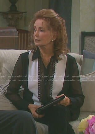 Maggie's black lace inset blouse with sheer sleeves on Days of our Lives