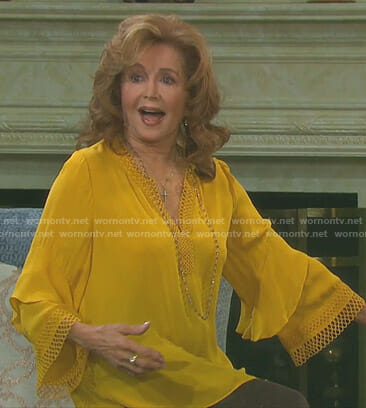 Maggie's yellow ruffle sleeve blouse on Days of our Lives
