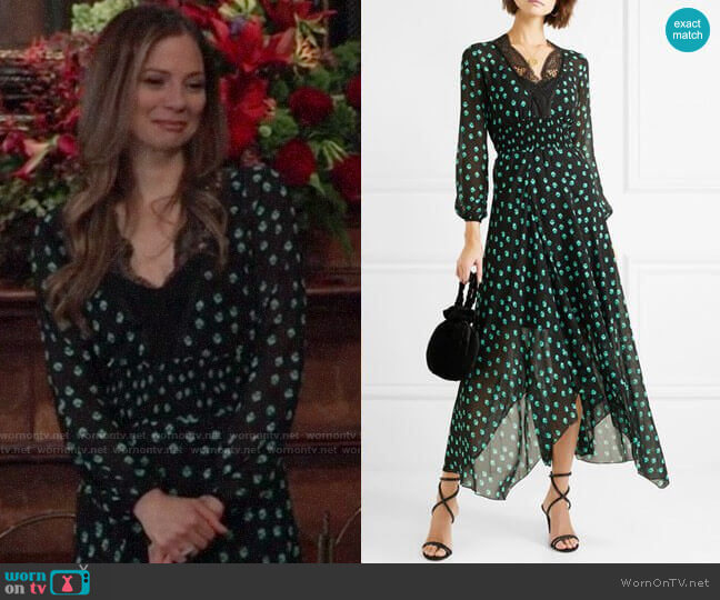 Maje Asymmetric Lace-Trimmed Printed Chiffon Dress  worn by Kim Nero (Tamara Braun) on General Hospital