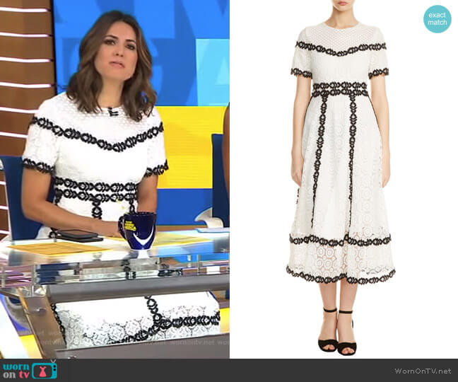 Rowan Bicolore Lace Dress by Maje worn worn by Cecilia Vega on Good Morning America
