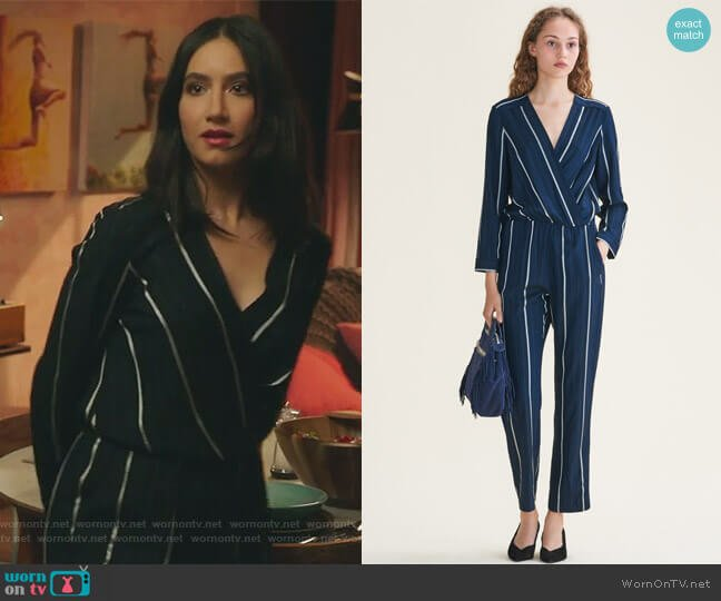 Striped Jumpsuit by Maje worn by Adena El-Amin (Nikohl Boosheri) on The Bold Type