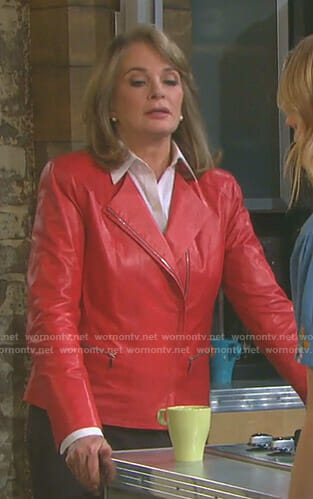 Marlena's red front zip leather jacket on Days of our Lives