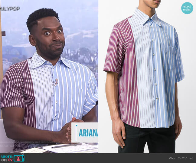 Short Sleeve Striped Shirt by Marni worn by Justin Sylvester  on E! News