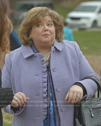 Martha's purple ruffle front coat on Good Witch