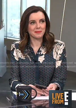 Melanie's navy floral and polka dot blouse on Live from E!