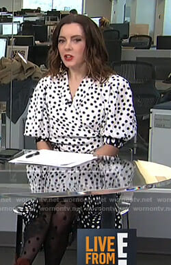 Melanie's polka dot wrap blouse on Live from E!