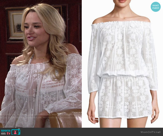 Melissa Odabash Olivia Off-The-Shoulder Blouson Dress worn by Hunter King on The Young & the Restless