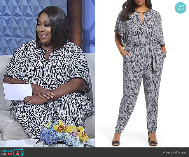 Chained Keyhole Neck Jumpsuit by MICHAEL Michael Kors worn by Loni Love  on The Real