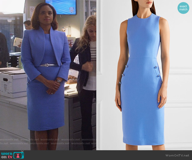 Button-detailed wool-blend crepe midi dress by Michael Kors worn by Jasmine Gooden (Sharon Leal) on Instinct