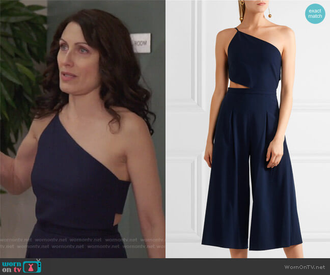 One-shoulder cutout stretch-crepe jumpsuit by Michelle Mason worn by Lisa Edelstein on GG2D