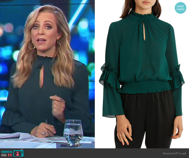 Penelope High Neck Shirred Top by Milk & Honey worn by Carrie Bickmore on The Project