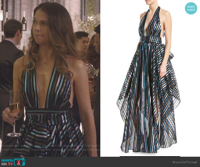 Angie Striped Organza Halter Gown by Milly worn by Sutton Foster on Younger