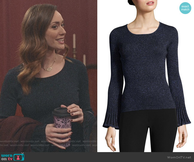 Metallic Rib Sweater by Milly worn by Sarah Power on Good Witch