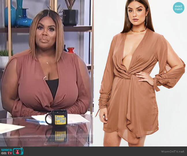 Curve Mocha Twist Front Tie Cuff Dress by Missguided worn by Nina Parker on E! News