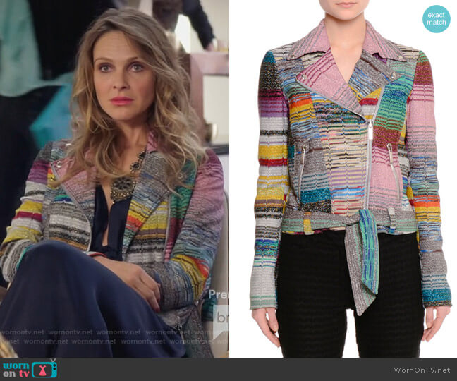 Patchwork Knit Moto Jacket by Missoni worn by Phoebe Wells (Beau Garrett) on GG2D