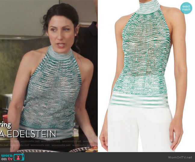 Green Knit Halter Neck Top by Missoni worn by Abby McCarthy (Lisa Edelstein) on GG2D