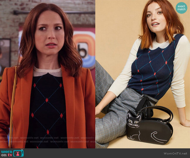 Trompe l'Oeil Collared Sweater by Modcloth worn by Ellie Kemper on Unbreakable Kimmy Schmidt
