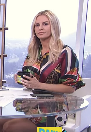 Morgan's mixed print shirtdress on E! News Daily Pop