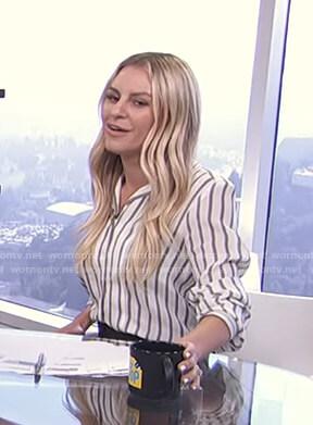 Morgan's white striped shirt and black shorts on E! News Daily Pop