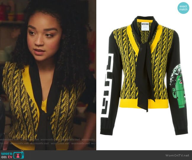 Cable Knit Effect Cardigan by Moschino worn by Kat Edison (Aisha Dee) on The Bold Type