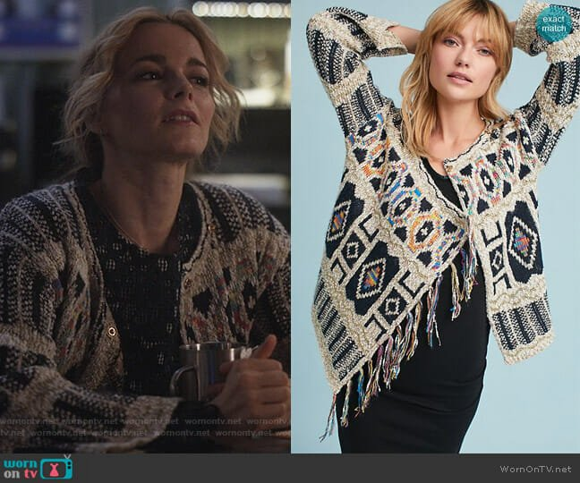Spectra Fringed Cardigan by Moth at Anthropologie worn by Bojana Novakovic on Instinct