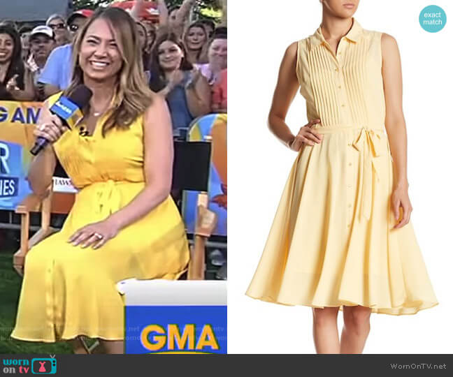 Sleeveless Pleated Upper Dress by NANETTE Nanette Lepore worn by Ginger Zee  on Good Morning America