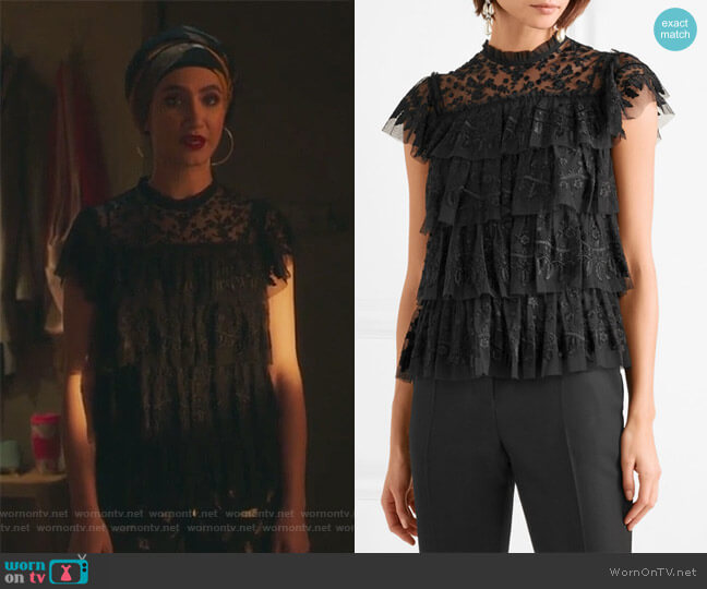 Tiered embroidered tulle top by Needle & Thread worn by Nikohl Boosheri on The Bold Type