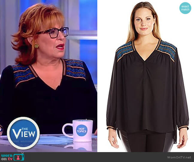 Long Sleeve Blouse with Shoulder Embroidery by NYDJ worn by Joy Behar on The View