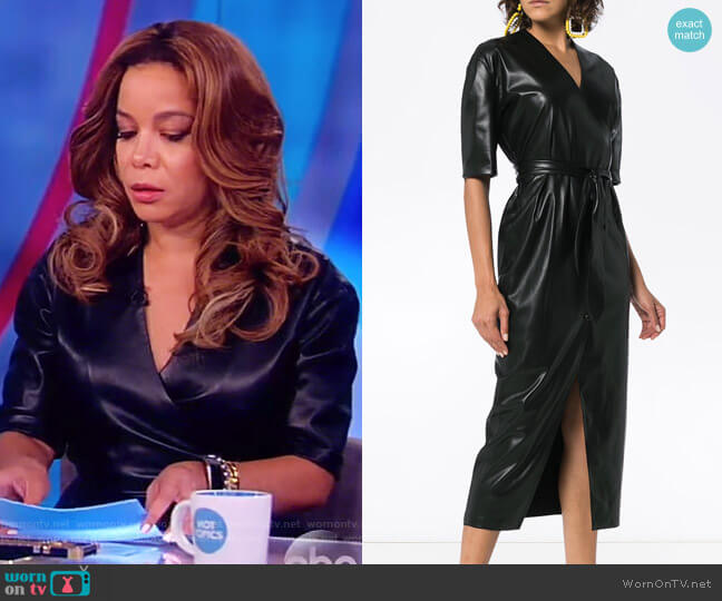 Penelope V-neck wrap faux leather dress by Nanushka worn by Sunny Hostin  on The View
