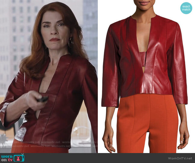 Plongé Leather Split-Neck Top by Narciso Rodriguez worn by Kitty Montgomery (Julianna Margulies) on Dietland