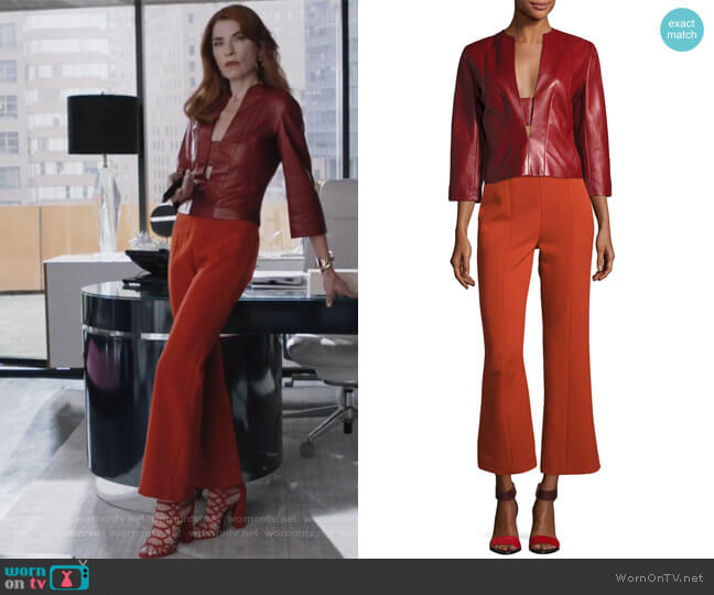 Wool High-Waist Cropped Straight-Leg Pants by Narciso Rodriguez worn by Kitty Montgomery (Julianna Margulies) on Dietland