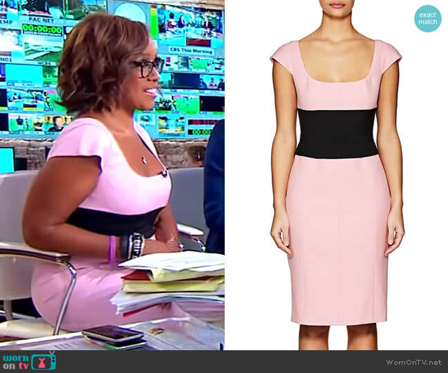 Wool Gabardine Belted Dress by Narciso Rodriguez worn by Gayle King on CBS This Morning