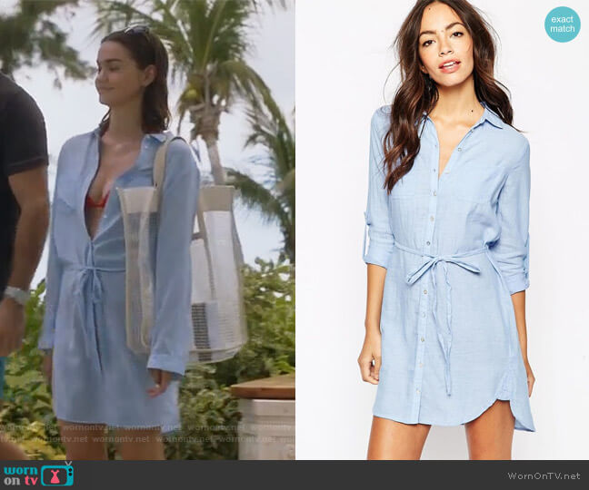 New Look Chambray Longline Shirt Dress worn by Callie Jacob (Maia Mitchell) on The Fosters