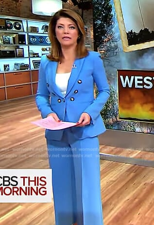 Norah's blue double breasted blazer and cropped pants on CBS This Morning