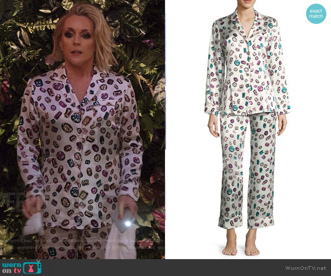 Lila Yolanda Long Silk Pajama Set by Olivia von Halle worn by Jane Krakowski on Unbreakable Kimmy Schmidt
