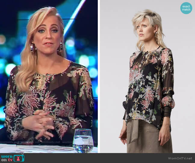 Dreams Yoryu Top with Lace Trim in Gypsy Flora by Once Was worn by Carrie Bickmore  on The Project