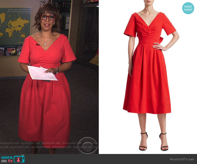 Bow-Back A-Line Dress by Oscar de la Renta worn by Gayle King  on CBS This Morning