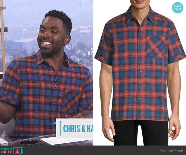 Camp Cotton Button-Down Shirt by Ovadia & Sons worn by Justin Sylvester (Justin Sylvester) on E! News