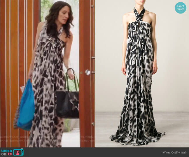Animal print halterneck long dress by Plein Sud