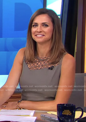 Paula's grey lace paneled dress on Good Morning America