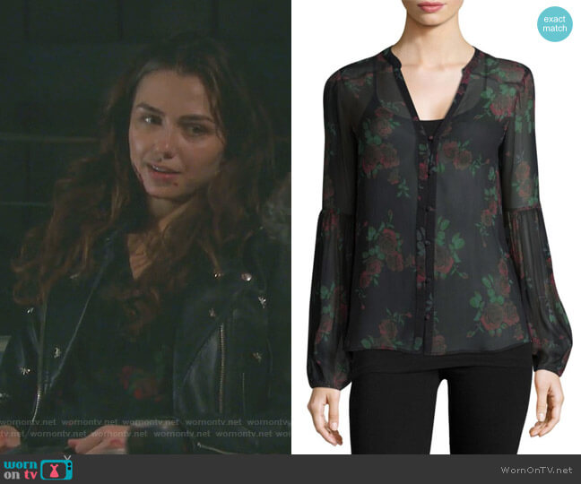 Emilia Floral-Print Silk Blouse by Paige worn by Victoria Konefal on Days of our Lives