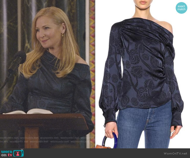 Floral-Jacquard Satin Top by Peter Pilotto worn by Pauline (Jennifer Westfeldt) on Younger