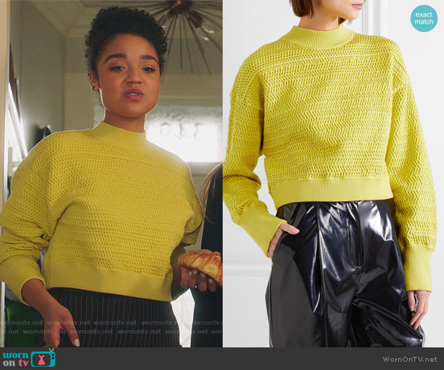 Cropped knitted sweater by Phillip Lim 3.1 worn by Aisha Dee on The Bold Type