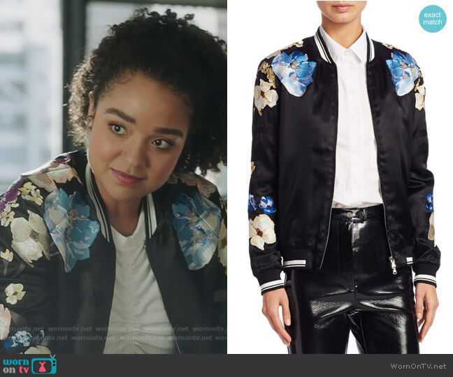 Floral Bomber Jacket by 3.1 Phillip Lim worn by Kat Edison (Aisha Dee) on The Bold Type
