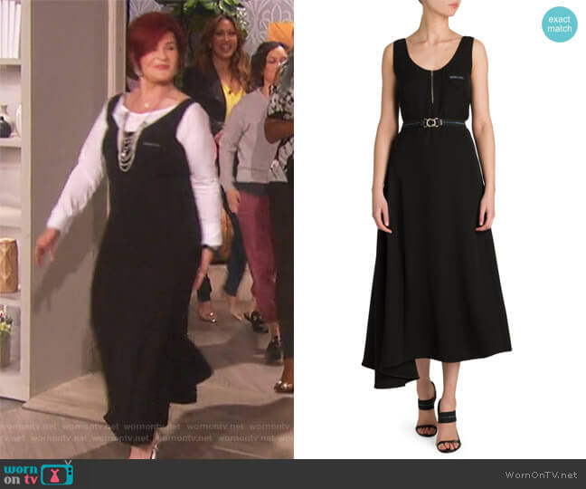 Asymmetrical Belted Dress by Prada worn by Sharon Osbourne  on The Talk