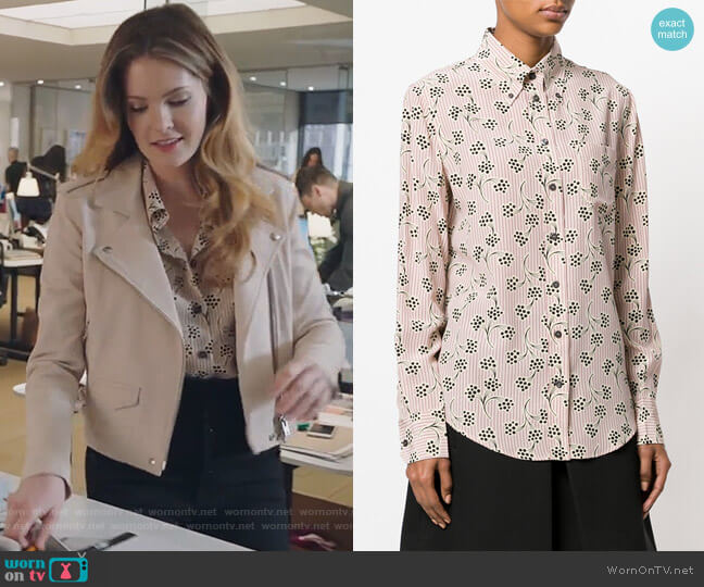 Printed Button Down Shirt by Prada worn by Meghann Fahy on The Bold Type