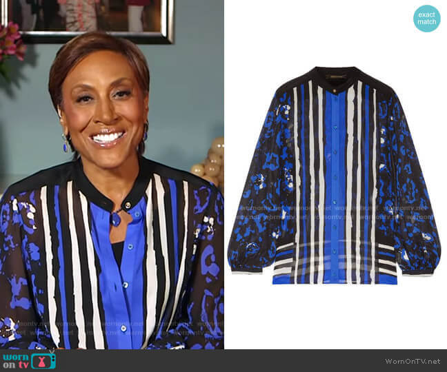Printed Silk Crepe de Chine Blouse by Roberto Cavalli  worn by Robin Roberts  on Good Morning America