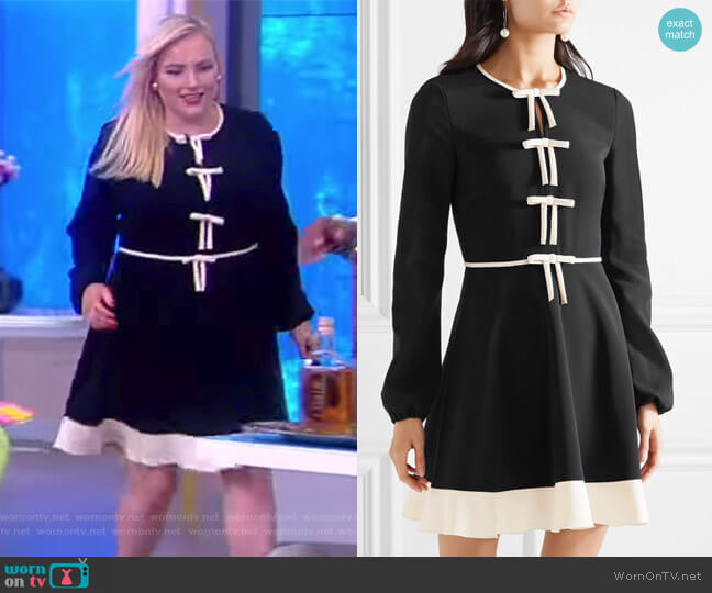 Bow-embellished stretch-crepe mini dress by RED Valentino worn by Meghan McCain  on The View