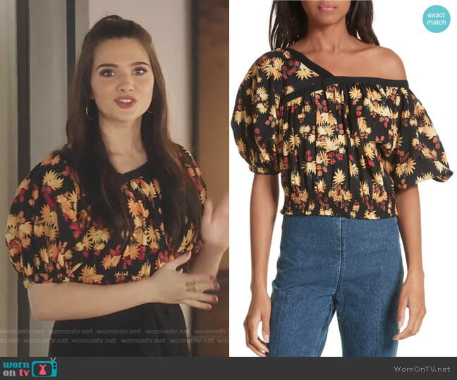Delirium Silk & Stretch Cotton Off the Shoulder Top by Rachel Comey worn by Katie Stevens on The Bold Type
